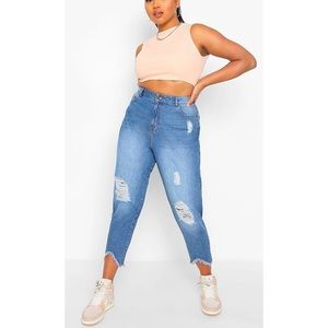 New Boohoo Ripped Distressed High Waist Mom Jeans